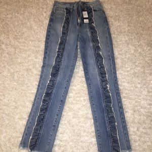 carmar ruffle front jeans NWT